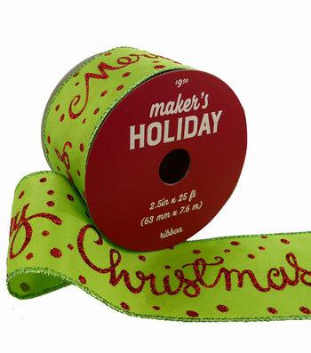 Maker's Holiday Christmas Ribbon 2.5''x25'-Merry Christmas on Lime