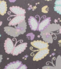 Blizzard Fleece Fabric -Pastel Butterflies