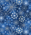 Christmas Cotton Fabric-Blue & Foiled Snowflakes on Blue