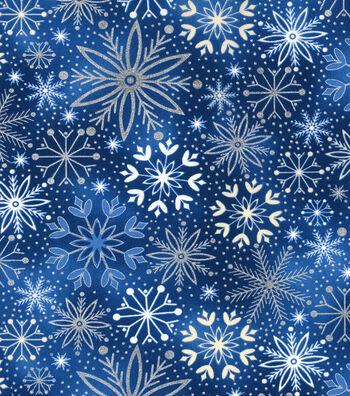 Christmas Cotton Fabric-Snowflake on Blue Foil