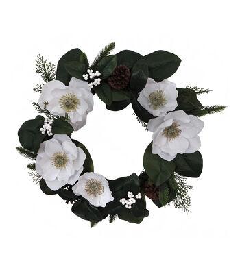 Blooming Holiday Christmas Farm 24'' Magnolia Wreath-White
