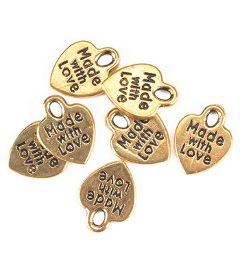 "Darice ""Made with Love"" Goldtone Charms 50pc"