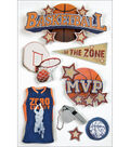 Paper House Sport 3-D Stickers-Basketball