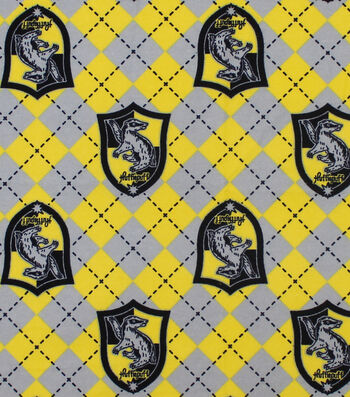 "Harry Potter Flannel Fabric 42""-Hufflepuff Argyle"