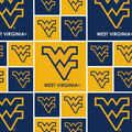 West Virginia University Mountaineers Cotton Fabric -Allover Block