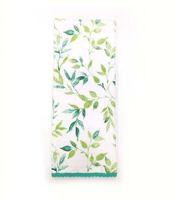 Hello Spring 16''x28'' Velour Terry Towel-Blue & Green Fern
