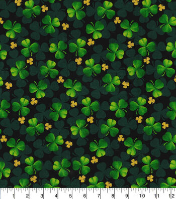 St. Patrick's Day Cotton Fabric-Shades of Glitter Clover