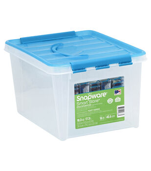 "Snapware Smart Store 15.5x11.5x8.3"" with Turquoise Handles and Lid"