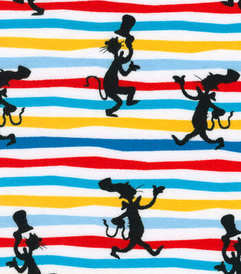 Dr. Seuss Knit Cotton Fabric-Silhouette Stripe