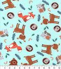 Nursery Flannel Fabric-Eamon Tossed Animals