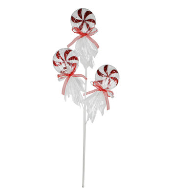 Blooming Holiday Christmas 18'' Lollipop Spray-White & Red
