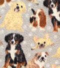 Anti-Pill Fleece Fabric 59\u0022-Painted Dogs On Gray
