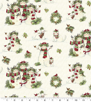 Susan Winget Cotton Fabric -Snowmen and Pets