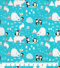 Snuggle Flannel Fabric-Holiday Penguins Fishing
