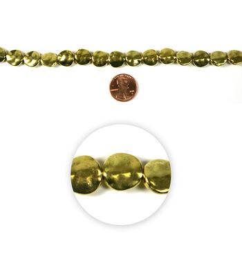 Blue Moon Strung Metal Beads,Flat Round,Gold,Hammered