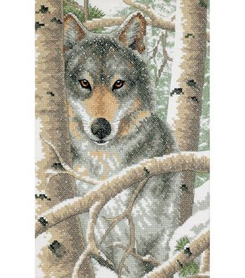 Dimensions Stamped Cross Stitch Kit Wintry Wolf