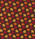 Harvest Cotton Fabric-Mini Tossed Leaves on Brown