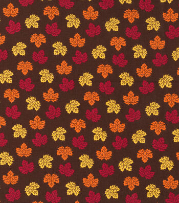 "Harvest Cotton Fabric 44""-Brown Mini Tossed Leaves"