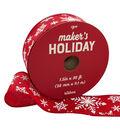 Maker\u0027s Holiday Christmas Ribbon 1.5\u0027\u0027x30\u0027-White Snowflakes on Red