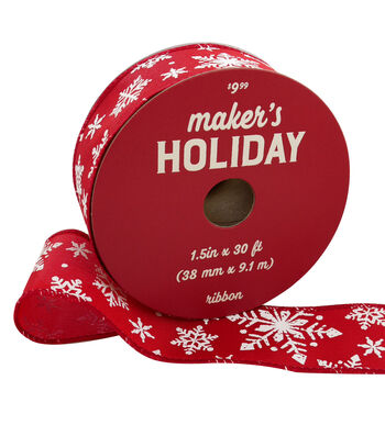 Maker's Holiday Christmas Ribbon 1.5''x30'-White Snowflakes on Red