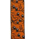 Maker\u0027s Halloween Ribbon 2.5\u0027\u0027x12\u0027-Black Owls on Orange