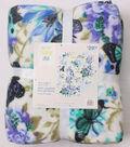 No Sew Fleece Throw 72\u0022-Blue Butterfly Floral