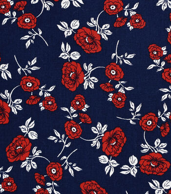 Stretch Twill Fabric 57''-Red Floral on Navy