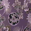 Premium Cotton Print Fabric -Purple & Metallic Floral Fans