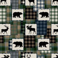 Super Snuggle Flannel Fabric-Bear Lake Patch Blue