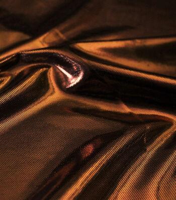 Metallic Apparel Bodre Fabric 44''-Orange Foil Dot