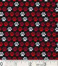 Novelty Cotton Fabric 43\u0022-Paw Prints On Black