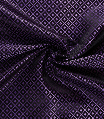Yaya Han Cosplay Brocade Fabric 58''-Purple Japanese Geometric on Black