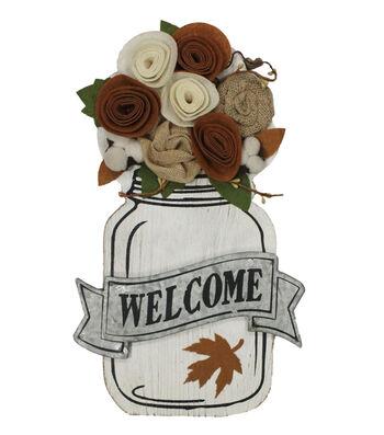 Simply Autumn Mason Jar with Felt Flower Wall Decor-Welcome