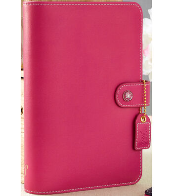 """Faux Leather Personal Planner Binder 5.2""""X8""""-Fuchsia"""