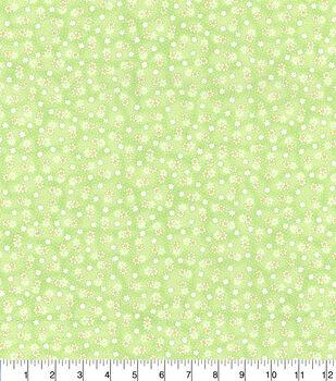 Keepsake Calico Cotton Fabric-Green Small Daisy