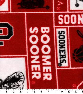 University of Oklahoma Boomer Sooners Fleece Fabric -Block