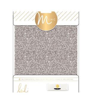 """Heidi Swapp Minc Glitter Sheets 6""""X8"""" 4/Pkg-Silver"""
