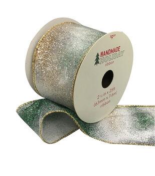 Handmade Holiday Christmas Ribbon 2.5''x25'-Navy & Green Glitter Ombre