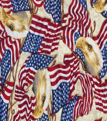 Patriotic Cotton Fabric 43''-Patriotic Eagles