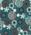 Quilter\u0027s Showcase Cotton Fabric 44\u0027\u0027-Gray & Teal Floral Medallion