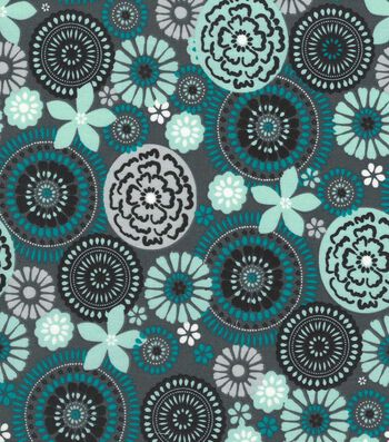 Quilter's Showcase Cotton Fabric 44''-Gray & Teal Floral Medallion
