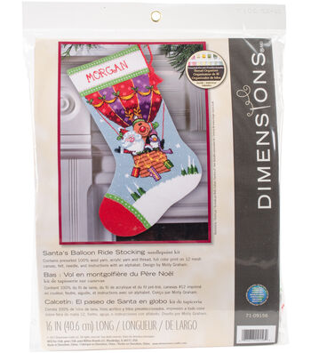 "Santa's Balloon Ride Stocking Needlepoint Kit 16"" Long Stitched In Yarn"