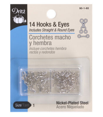 Dritz Hooks & Eyes Size 1 14/Pkg-Nickel