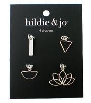 hildie & jo 4 pk Metal Charms-Silver, , hi-res