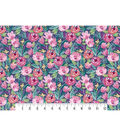 Premium Cotton Print Fabric 43\u0027\u0027-Watercolor Floral on Navy