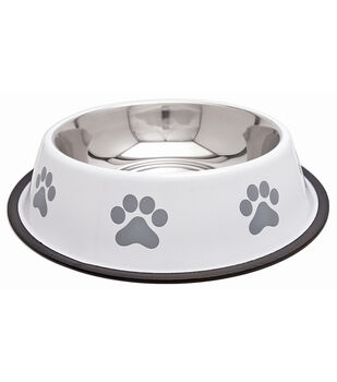 Westminster Pet Products Fashion Steel Gray With White Bowl Paw 64oz