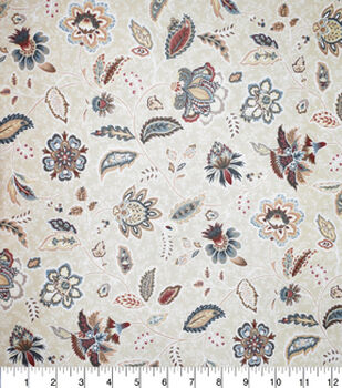 Premium Quilt Cotton Fabric-Navy Medallion Floral Cream