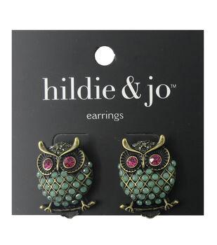 hildie & jo Owl Gold Earrings-Green, Pink & Gray Stones