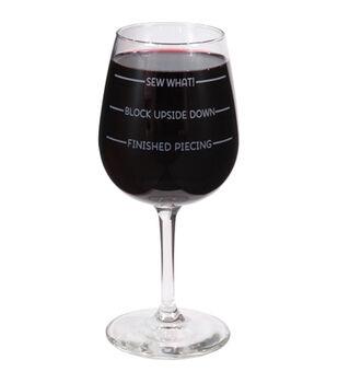 K1C2 12 oz Quilt Happy Wine Glass In Box-Sew What!