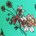 Double Brushed Poly Printed Knit Fabric-Coral Floral Sprays on Seafoam
